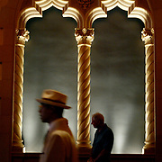 DIGITAL PHOTO BY SUSANNA FROHMAN. SAN JOSE MERCURY NEWS.091704--San Jose, CA--Hundreds of people flocked to the grand reopening of the historic California Theatre Friday afternoon in downtown San Jose. The theatre, which underwent a six-year, $75-million restoration, has been shuttered for more than 30 years,. Members of the public got their first glimpse of the inside during an open house and theatre tour. The Opera San Jose and Symphony Silicon Valley will hold shows in the historic theatre.
