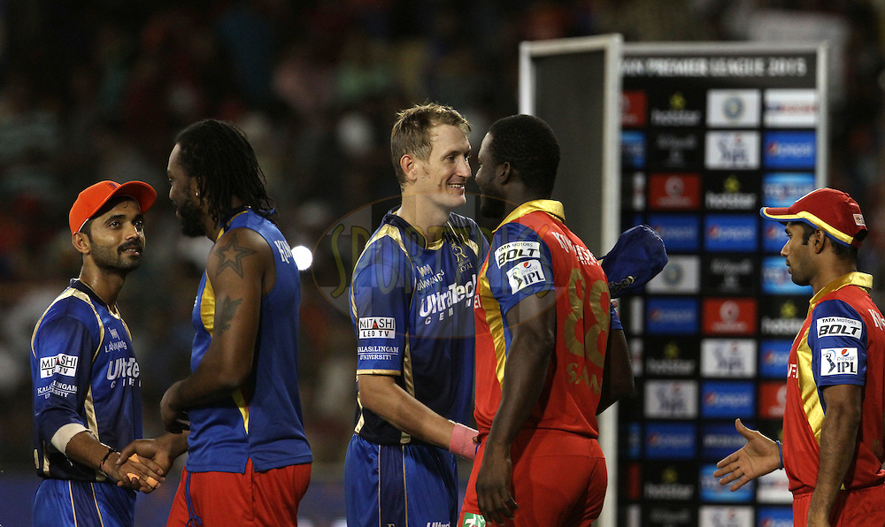 Royal Challengers Bangalore and Rajasthan Royals players shake hands after the match 22 of the Pepsi IPL 2015 (Indian Premier League) between The Rajasthan Royals and The Royal Challengers Bangalore held at the Sardar Patel Stadium in Ahmedabad , India on the 24th April 2015.<br /> <br /> Photo by:  Vipin Pawar / SPORTZPICS / IPL