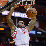 Nov 27, 2013; Houston, TX, USA; Houston Rockets power forward Terrence Jones (6) dunks against the Atlanta Hawks during the first quarter at Toyota Center. Mandatory Credit: Thomas Campbell-USA TODAY Sports