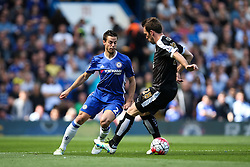 Cesar Azpilicueta of Chelsea under pressure from Christian Fuchs of Leicester City - Mandatory byline: Jason Brown/JMP - 15/05/2016 - FOOTBALL - London, Stamford Bridge - Chelsea v Leicester City - Barclays Premier League