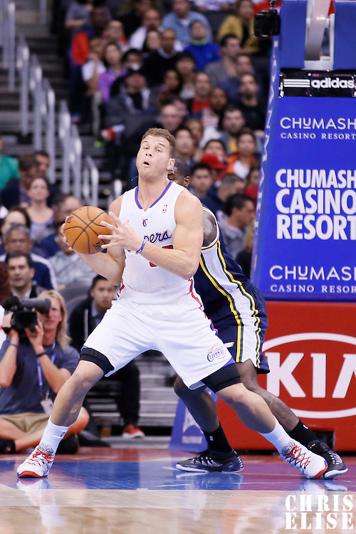 01 February 2014: Utah Jazz power forward Marvin Williams (2) defends on Los Angeles Clippers power forward Blake Griffin (32) during the Los Angeles Clippers 102-87 victory over the Utah Jazz at the Staples Center, Los Angeles, California, USA.