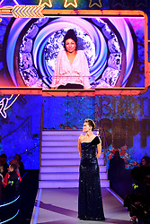 Presenter Emma Willis as Roxanne Pallett is shown on the big screen during the live final of Celebrity Big Brother at Elstree Studios, Hertfordshire.