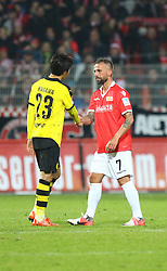 24.01.2016, Stadion An der Alten Foersterei, Berlin, GER, Testspiel, 1. FC Union Berlin vs. Borussia Dortmund, im Bild Shinji Kagawa (#23, Borussia Dortmund) beglueckwunst Benjamin Koehler (#7, 1. FC Union Berlin) nach seinem Comeback // during a preperation Football Match between 1. FC Union Berlin and Borussia Dortmund at the Stadion An der Alten Foersterei in Berlin, Germany on 2016/01/24. EXPA Pictures © 2016, PhotoCredit: EXPA/ Eibner-Pressefoto/ Hundt<br /> <br /> *****ATTENTION - OUT of GER*****