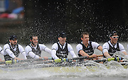 Putney, GREAT BRITAIN,   Oxford hit the rough water before going on to win the 2008 Boat Race,  Oxford vs Cambridge raced over the 'Championship Course' Putney to Mortlake, on the River Thames, Sat 29.03.2008 left to right, Ben SMITH Arron MARCOVY, Mike WHERLEY and Oliver MOORE and Charles COLE. [Mandatory Credit, Peter Spurrier / Intersport-images Varsity Boat Race, Rowing Course: River Thames, Championship course, Putney to Mortlake 4.25 Miles, Rough, Choppy, Water, Conditions.
