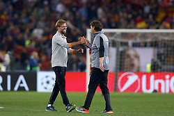 May 2, 2018 - Rome, Lazio, Italy - AS Roma v FC Liverpool - Champions League semi-final second leg.Liverpool manager Jurgen Klopp celebrates with the second assistant coach Peter Krawietz at Olimpico Stadium in Rome, Italy on May 02, 2018. (Credit Image: © Matteo Ciambelli/NurPhoto via ZUMA Press)