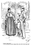 """ARE you comin' 'ome?"" ""I'll do ellythik you LIKE in reasol, M'ria - (hic) - Bur I WON'T come 'ome."" (a Victorian cartoon from Punch shows an angry wife and her son as she orders her drunk husband to come home from the pub)"