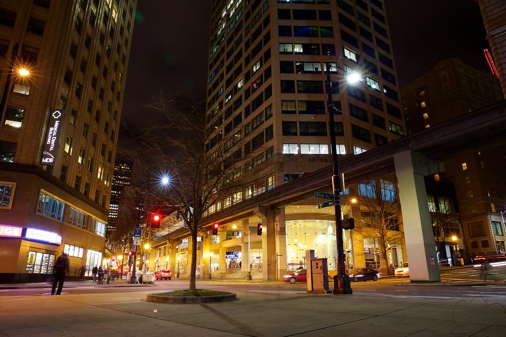 Looking at Westlake Center on a crisp December evening
