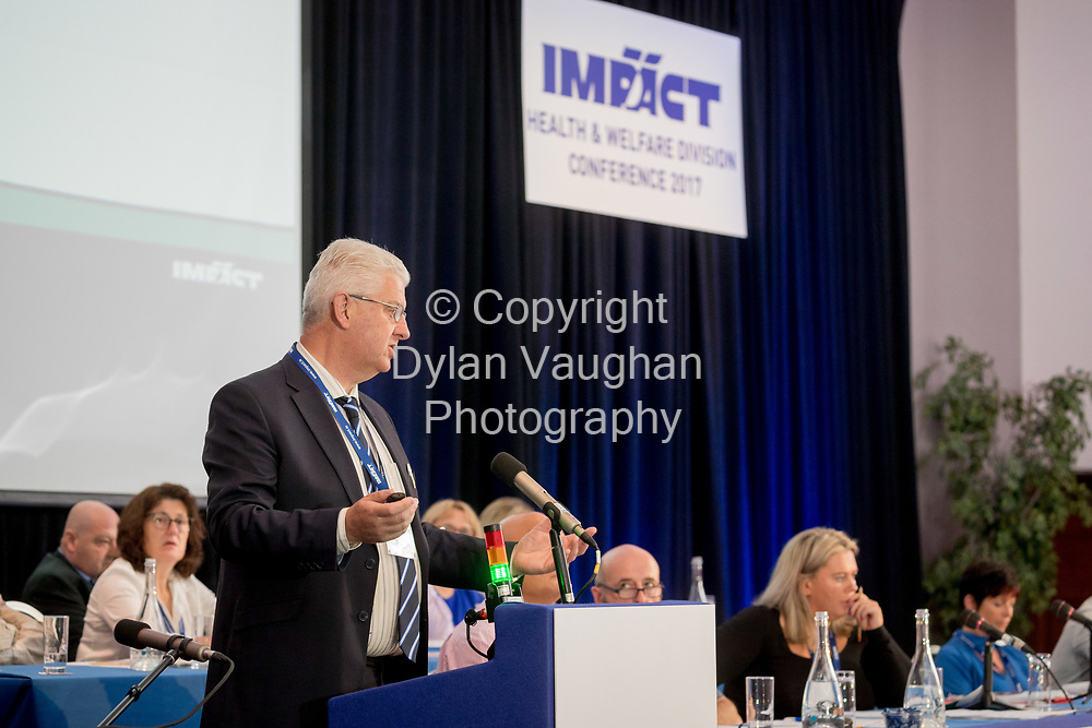 2-6-17<br />  <br /> Matt Staunton, National Secretary, General Manager pictured at the IMPACT Health and Welfare Division Conference in Wexford.<br /> Picture Dylan Vaughan.