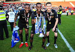Free to use courtesy of Sky Bet - Wigan Athletic players celebrate after winning the Sky Bet League One title - Mandatory by-line: Matt McNulty/JMP - 05/05/2018 - FOOTBALL - The Keepmoat Stadium - Doncaster, England - Doncaster Rovers v Wigan Athletic - Sky Bet League One