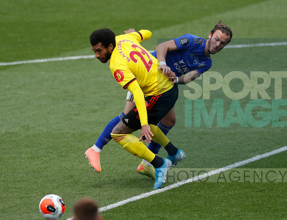 Etiene Capoue of Watford tackled by James Maddison of Leicester City during the Premier League match at Vicarage Road, Watford. Picture date: 20th June 2020. Picture credit should read: Darren Staples/Sportimage