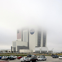 The Vehicle Assembly Building sits in the fog at the Kennedy Space Center in Cape Canaveral, Fla., Wednesday, Feb. 23, 2011. (AP Photo/Alex Menendez)