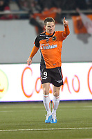 FOOTBALL - FRENCH CHAMPIONSHIP 2010/2011 - L1 - FC LORIENT v STADE BRESTOIS - 29/01/2011 - PHOTO PASCAL ALLEE / DPPI - JOY KEVIN GAMEIRO (FCL) AFTER ITS FIRST GOAL