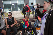 UNITED KINGDOM, London: 27-28 May 2017 Young cosplay fans drink and enjoy each others company outside of the MCM London Comic Con. <br /> The comic convention, which will be visited by tens of thousands of comic book and cosplay fans, is being held at London's ExCel this weekend. Rick Findler / Story Picture Agency