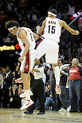 Apr 19, 2010; Cleveland, OH, USA; Cleveland Cavaliers forward Anderson Varejao (17) and forward Jamario Moon (15) celebrate after Moon hit a three-point-shot  during the fourth period in game two in the first round of the 2010 NBA playoffs at Quicken Loans Arena. The Cavaliers beat the Bulls 112-102. Mandatory Credit: Jason Miller-US PRESSWIRE
