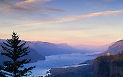 Columbia River Gorge view from Women's Forum Park to Crown Point and east at sunset; Oregon-Washington border, USA.