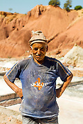 Portrait of workers at the Tinzert Salt Mines in the Ouirgane region of the High Atlas Mountains, Southern Morocco, 2013-10-18.