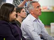"""24 JANUARY 2020 - POLK CITY, IOWA: JOE WALSH, center, listens to a program about regenerative agriculture on a farm in Polk City, northwest of Des Moines. Walsh, a conservative radio personality, former Republican congressman, and one time supporter of Donald Trump is now challenging Trump for the Republican nomination for the US Presidency. During his appearance in Polk City, Walsh said Trump is unfit to be the President because he is a """"cheater,"""" a climate change denier, and a """"threat"""" to the United States.      PHOTO BY JACK KURTZ"""