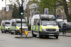 © Licensed to London News Pictures. 03/04/2019. London, UK. Police vans arrive at the £400 million new stadium as Tottenham Hotspurs play their first competitive game against Crystal Palace this evening. Photo credit: Dinendra Haria/LNP