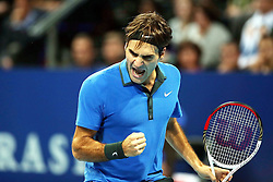 28.10.2012, St. Jakobshalle, Basel, SUI, ATP, Swiss Indoors, Finale, im Bild Roger Federer (SUI) // during ATP Swiss Indoors Tournament Final Match at the St. Jakobshall, Basel, Switzerland on 2012/10/28. EXPA Pictures © 2012, PhotoCredit: EXPA/ Freshfocus/ Daniela Frutiger..***** ATTENTION - for AUT, SLO, CRO, SRB, BIH only *****