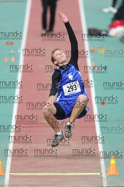 (Sherbrooke, Quebec---10 August 2008) Nicholas Macadam competing in the youth boys long jump at the 2008 Canadian National Youth and Royal Canadian Legion Track and Field Championships in Sherbrooke, Quebec. The photograph is copyright Sean Burges/Mundo Sport Images, 2008. More information can be found at www.msievents.com.