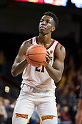 Southern California Trojans forward Onyeka Okongwu (21) shoots a free throw against the Pepperdine Waves during an NCAA college basketball game, Tuesday, Nov. 19, 2019, in Los Angeles. USC defeated Pepperdine 91-84. (Jon Endow/Image of Sport)