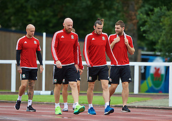DINARD, FRANCE - Tuesday, July 5, 2016: Wales' James Collins, Gareth Bale and Sam Vokes during a training session at their base in Dinard as they prepare for the Semi-Final match against Portugal during the UEFA Euro 2016 Championship. (Pic by David Rawcliffe/Propaganda)