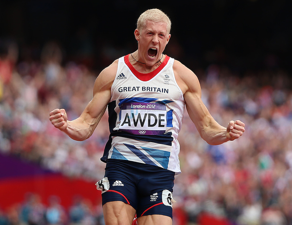 Daniel Awde of Great Britain celebrates after crossing the finish line during a heat for the 100m portion of the decathlon during track and field at the Olympic Stadium during day 12 of the London Olympic Games in London, England, United Kingdom on August 8, 2012..(Jed Jacobsohn/for The New York Times)..