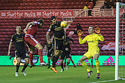 Middlesbrough FC striker Christian Stuani (18) heads the ball wide, Nottingham Forest goalkeeper Dorus de Vries (1) watches the ball during the Sky Bet Championship match between Middlesbrough and Nottingham Forest at the Riverside Stadium, Middlesbrough, England on 23 January 2016. Photo by George Ledger.