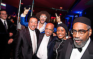 Date: April 14, 2013. Location: Roseland Ballroom, NYC. Caption: Motown-The Musical, Broadway show, opening night party. A STAMP Management event. Photographer: Margarita Corporan. Please credit ** Margarita Corporan. Pictured: Smokey Robinson, Berry Gordy Jr., his son Stefan Kendal Gordy (aka Redfoo from LMFAO)
