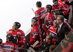 13.04.2019, Keine Sorgen Eisarena, Linz, AUT, Euro Hockey Challenge, Österreich vs Tschechien, Länderspiel, im Bild v.l. Stürmer Dominic Zwerger (AUT), Head Coach Roger Bader (AUT) // during the international friendly match between Austria and Czech Republic, as part of the Euro Hockey Challenge at the Keine Sorgen Eisarena in Linz, Austria on 2019/04/13. EXPA Pictures © 2019, PhotoCredit: EXPA/ Reinhard Eisenbauer
