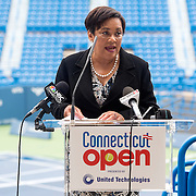 June 9, 2015, New Haven, CT:<br /> New Haven Mayor Toni Harp speaks during a press conference at the Connecticut Tennis Center to announce the new Connecticut Open 50/50 Project and the renewal of United Technologies sponsorship of the tournament through the 2017 in New Haven, Connecticut Tuesday, June 9, 2015.<br /> (Photo by Billie Weiss/Connecticut Open)