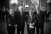 Rome dec 21th 2015, swearing-in ceremony of  new Constitutional Court members. In the picture Augusto Barbera, Sergio Mattarella, Franco Modugno, Giulio Prosperetti