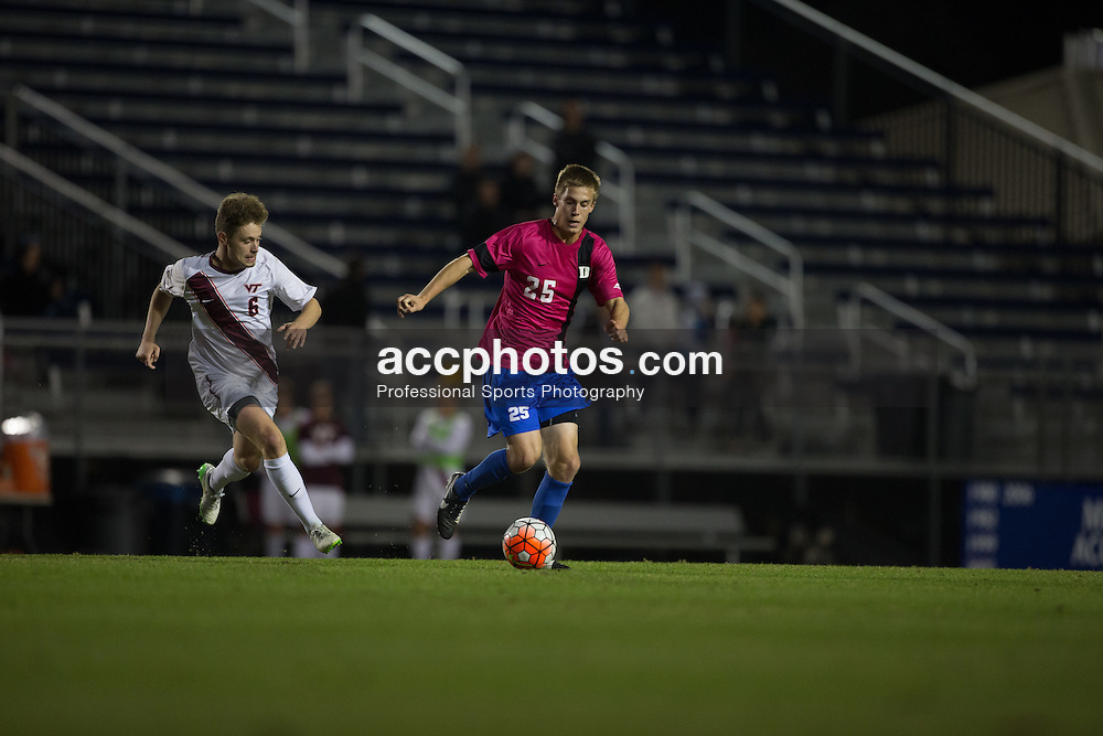 2015 October 30: Cody Brinkman #25 of the Duke Blue Devils during a 2-1 win over the Virginia Tech Hokies at Koskinen Stadium in Durham, NC.