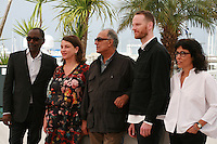 Directors Mahamat-Saleh Haroun, Noemie Lvovsky, Abbas Kiarostami, Joachim Trier and Daniela Thomas at the photo call for the Cinéfondation at the 67th Cannes Film Festival, Thursday 22nd May 2014, Cannes, France.