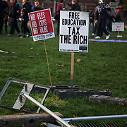 The marching students breached the fence surrounding Parliament Square and the police lines. A small group stayed on the square while the main part moved on the planned rally nearby. Thousands of students turned out to a march against fees and cuts in the education sector, calling for workers ans students to unite againts the Government's austerity policies.