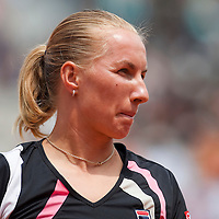 3 June 2009: Svetlana Kuznetsova of Russia is seen during the Women's single quarter final match on day eleven of the French Open at Roland Garros in Paris, France.