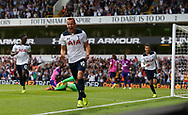 Harry Kane of Tottenham celebrates scoring the opening goal during the Premier League match between Tottenham Hotspur and Sunderland AFC at White Hart Lane in London. September 18, 2016.<br /> James Boardman / Telephoto Images<br /> +44 7967 642437