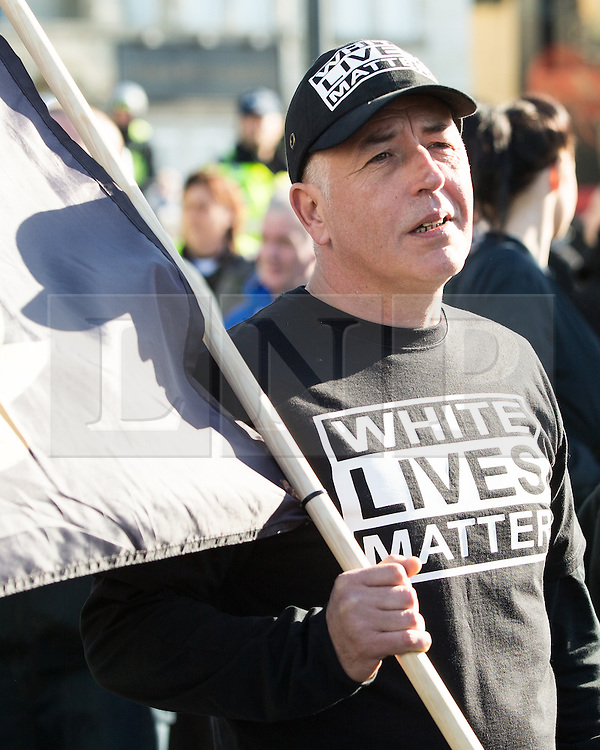 © Licensed to London News Pictures . 22/10/2016 . Margate , UK . PAUL PITT . A White Lives Matter protest and march , opposed by antifascists , is held in Margate , Kent . Photo credit : Joel Goodman/LNP
