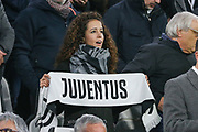 Juventus fan female during the Champions League Group H match between Juventus FC and Manchester United at the Allianz Stadium, Turin, Italy on 7 November 2018.