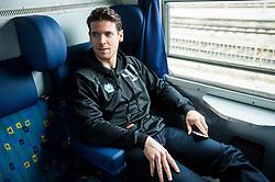 Luka Vidmar during departure to Budapest of Slovenian Ice Hockey National Team, on April 17, 2017 in Railway station, Ljubljana, Slovenia. Photo by Vid Ponikvar / Sportida