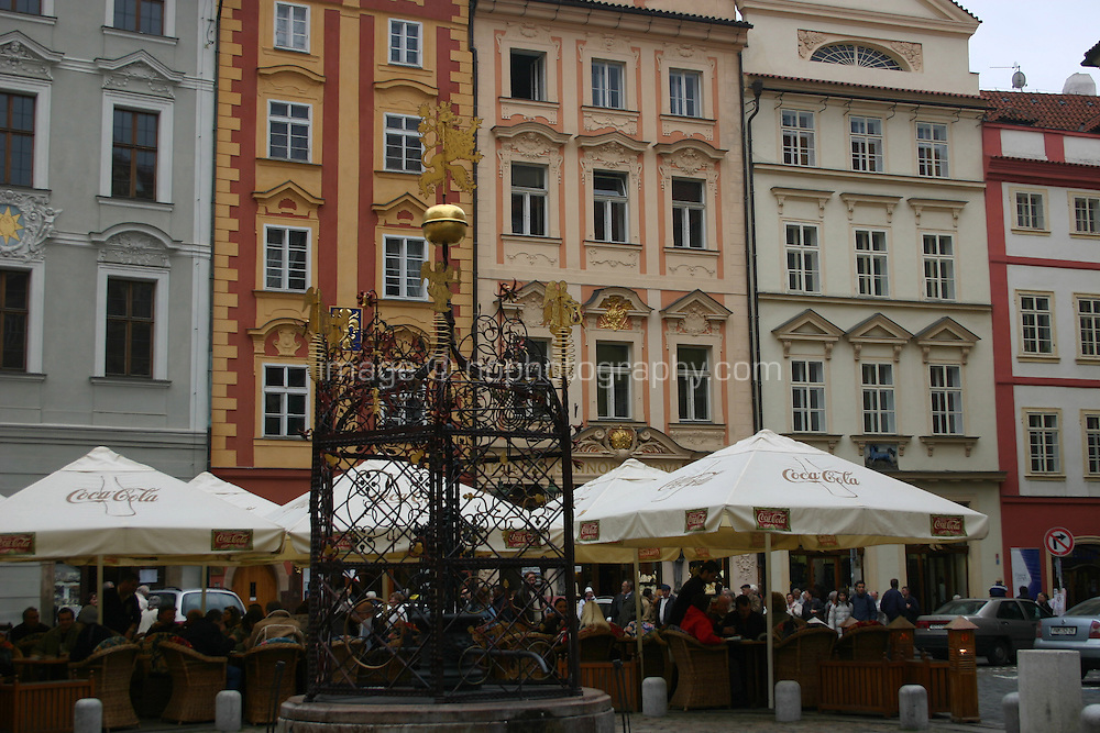 Outdoor Cafe tables at Old Town Square in Prague, Czech Republic<br />