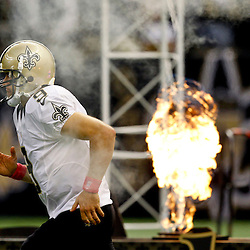 October 7, 2012; New Orleans, LA, USA; New Orleans Saints quarterback Drew Brees (9) is introduced prior to kickoff of a game against the San Diego Chargers at the Mercedes-Benz Superdome. The Saints defeated the Chargers 31-28. Mandatory Credit: Derick E. Hingle-US PRESSWIRE