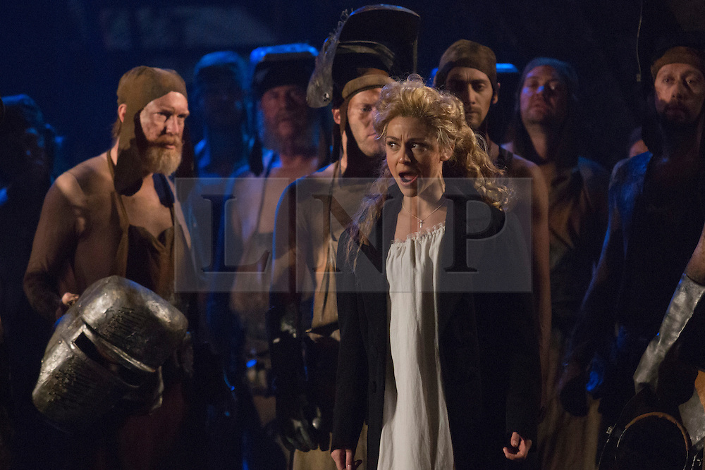 "© Licensed to London News Pictures. 02/06/2014. London, England. Corinne Winters as Teresa. Dress rehearsal of the Hector Berlioz opera ""Benvenuto Cellini"" at the London Coliseum. Directed by Monty Python and movie director Terry Gilliam for the English National Opera. Benvenuto Cellini opens on 5 June for 8 performances. As part of ENO Screen, the opera will be broadcast live to over 300 cinemas in the UK and Ireland and selected cinemas worldwide on 17 June 2014. Co-production with De Nederlandse Opera, Amsterdam and Teatro dell'Opera di Roma. Michael Spyres as Benvenuto Cellini, Pavlo Hunka as Balducci, Corinne Winters as Teresa, Nicholas Pallesen as Fieramosca and Willard White as Pope Clement VII. Photo credit: Bettina Strenske/LNP"
