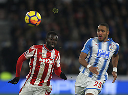 Mame Biram Diouf of Stoke City (L) in action - Mandatory by-line: Jack Phillips/JMP - 26/12/2017 - FOOTBALL - The John Smith's Stadium - Huddersfield, England - Huddersfield Town v Stoke City - English Premier League
