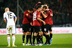 20.10.2011, AWD-Arena, Hannover, GER, UEFA EL,Gruppe B, Hannover 96 (GER) vs FC Kopenhagen (DEN), im Bild jubel um Torschuetze  Christian Pander (Hannover #24).// during UEFA Europa League group B match between Hannover 96 (GER) and FC Kopenhagen (DEN) at AWD-Arena Stadium, Hannover, Germany on 20/10/2011.  EXPA Pictures © 2011, PhotoCredit: EXPA/ nph/  Schrader       ****** out of GER / CRO  / BEL ******