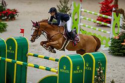 GEISER Audrey (SUI), Holiday X<br /> Genf - CHI Geneve Rolex Grand Slam 2019<br /> Prix des Communes Genevoises<br /> 2-Phasen-Springen<br /> International Jumping Competition 1m50<br /> Two Phases: A + A, Both Phases Against the Clock<br /> 13. Dezember 2019<br /> © www.sportfotos-lafrentz.de/Stefan Lafrentz