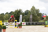 Male rider at Czech Equestrian Masters 2017, held in the Czech Republic, Europe.<br /> Photo for personal and editorial use only