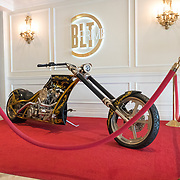 DORAL, FLORIDA, JANUARY 10, 2018<br /> A custom motorcycle greets visitors to the BLT Prime restaurant at the Trump National Doral Miami. No photos of President Donald J. Trump visible.<br /> (Photo by Angel Valentin/Freelance)
