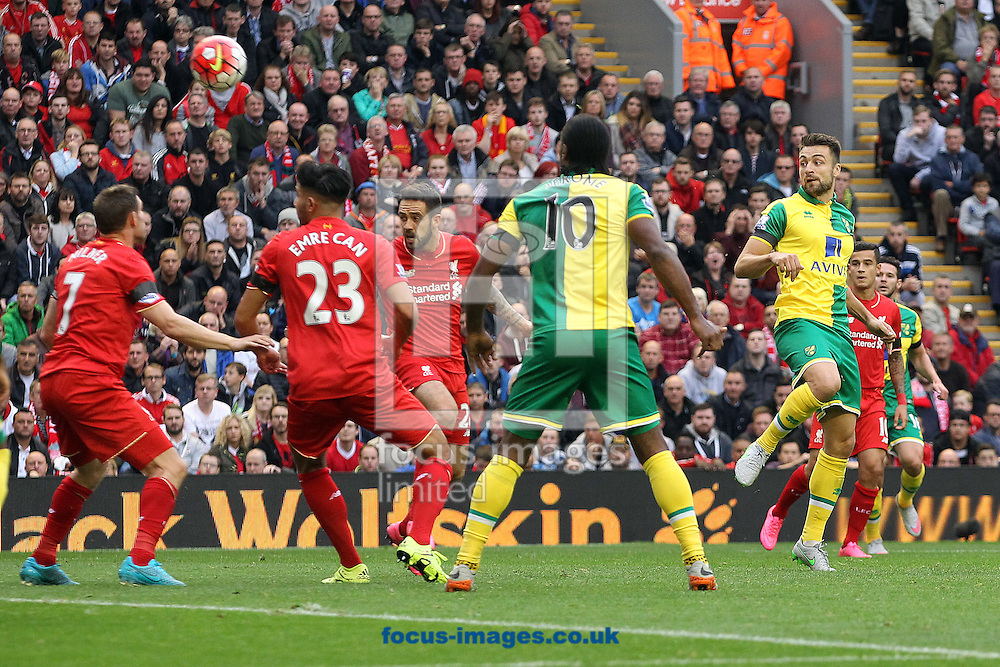 Russell Martin of Norwich scores his sides equalising goal during the Barclays Premier League match at Anfield, Liverpool<br /> Picture by Paul Chesterton/Focus Images Ltd +44 7904 640267<br /> 20/09/2015