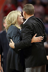 25 February 2015:  Julie Miller-Paska and Steve Paska  during an NCAA MVC (Missouri Valley Conference) men's basketball game between the Southern Illinois Salukis and the Illinois State Redbirds at Redbird Arena in Normal Illinois